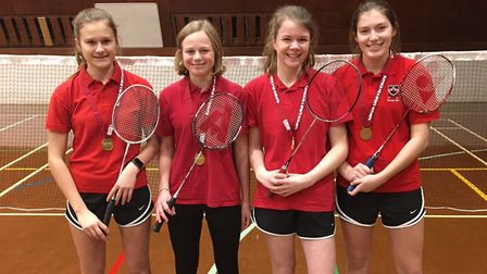 Bungay badminton players Bethany Drage, Suzie Millward, Rosie Turner and Sophie Johnston. Picture: B