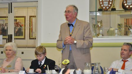 Rotary president John Warburton expressing his thanks to the school. Picture: Beccles Rotary Club.