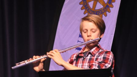 Gwilym Howarth playing the flute in his performance. Picture: John Swanbury.