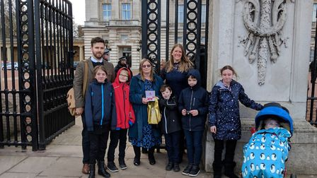 Amanda Piper was accompanied to Buckingham Palace by her family, including her four foster children.