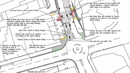 The design for the new toucan crossing which will be installed on George Westwood Way in Beccles. Pi
