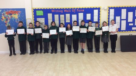 Year 5 and 6 pupils from Albert Pye Primary School who have become sports leaders. Picture: Stuart M
