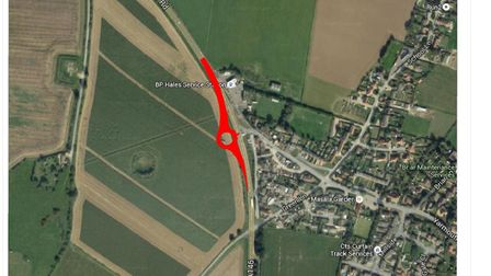 A map showing where the new roundabout will be installed on the A146 at Hales. Picture: Norfolk Coun