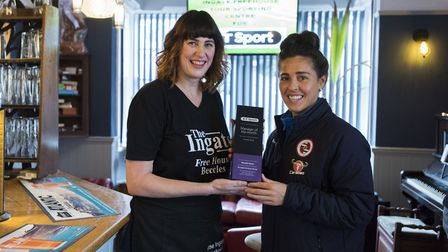 Michelle Payne received her Manager of the Month award from England and Reading midfielder Fara Wil