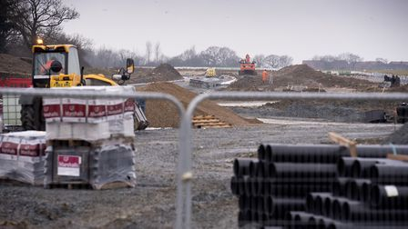 Work continues on the new Beccles Southern Relief Road. Picture: Nick Butcher.