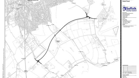 The proposed Beccles Southern Relief Road route. Picture: Suffolk County Council.