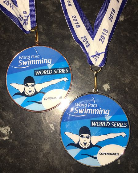 Jordan Catchpole's medals from the Para Swimming World Series in Copenhagen. Picture: Claire Brierly