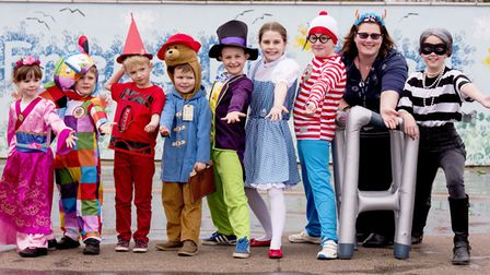 Staff and children from Worlingham Primary School enjoying World Book Day.Picture: Nick Butcher