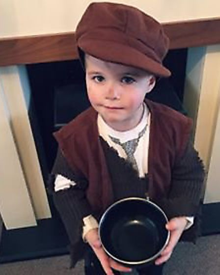Junior Morris went into Bungay Primary School dressed up as Oliver Twist. Picture: Hannah Gaad