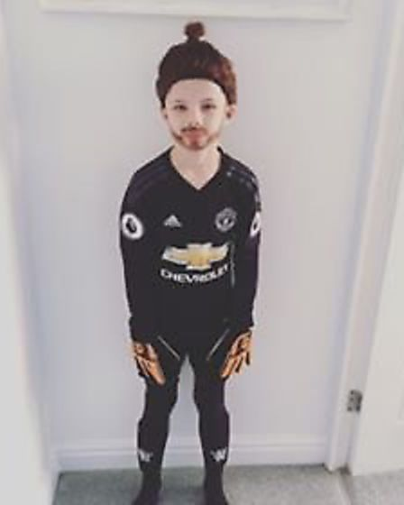 'Football obsessed' Rylan Heaney went into school dressed as David De Gea. Picture: Fran Heaney