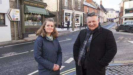 Elfrede Brambley Crawshaw and Mark Bee on Blyburgate, Beccles. The road will be downgraded to a 'B'