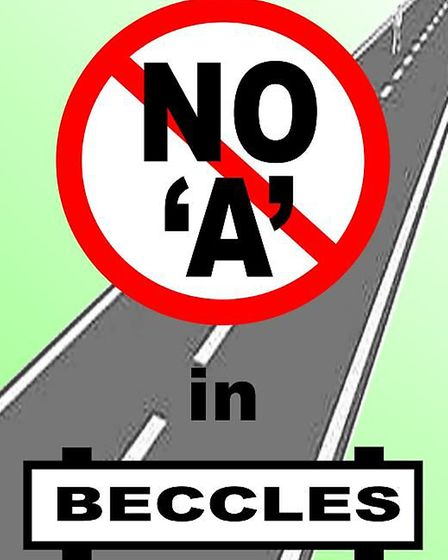 A poster by the Beccles Road Safety Group who are lobbied Suffolk County Council to re-route the A14