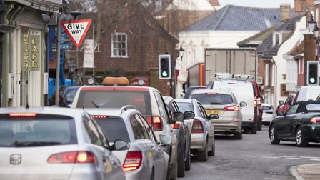 Traffic congestion on on Hungate, Beccles.