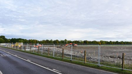 Construction work continues on the Beccles Southern relief road.Picture: Nick Butcher