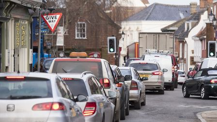 Traffic congestion on on Hungate, Beccles. Picture: Nick Butcher