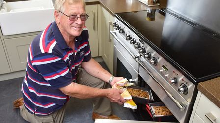 David Brown baking in his kitchen. Picture: Nick Butcher.
