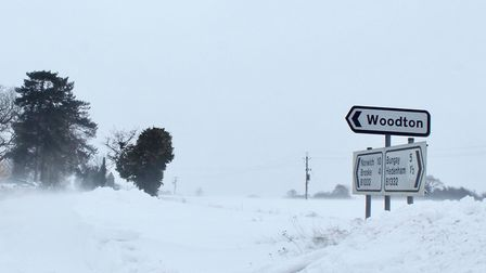 The village of Woodton has been left isolated by snowdrifts as the B1332 Bungay to Norwich road rema