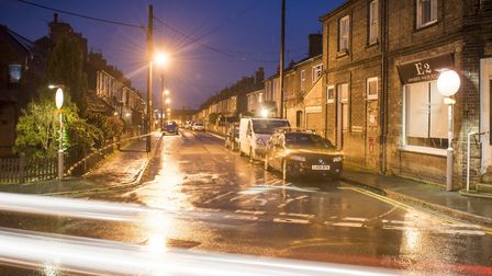 Denmark Road, Beccles at night.Picture: Nick Butcher