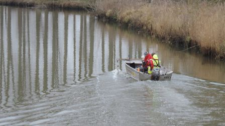 Members of the survey team on the River Waveney. Picture: Courtesy of River Waveney Trust.