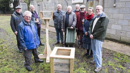 Members of the Beccles Men's Shed group with county councillor for Beccles Elfrede Brambley-Crawshaw