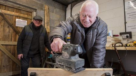 Beccles Men's Shed group member Paul Palgrave sanding down a chair. Picture: Nick Butcher.