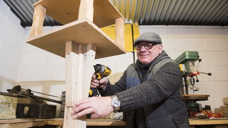 Beccles Men's Shed group member Paul Nicholls working on a bird table. Picture: Nick Butcher.