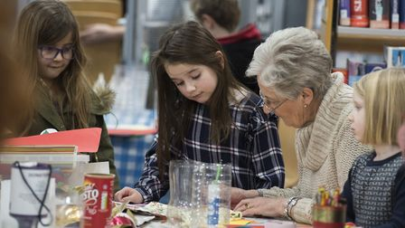 Youngsters make lanterns at Halesworth library for the Winter Light Festival 2018.Picture: Nick Butc