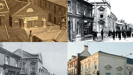 Beccles Public Hall through the ages. Image courtesy of John Gallagher