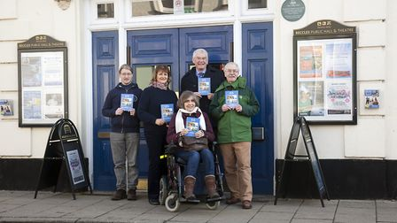 Hall manager James Aggett with Lynda Ayres, Rosemary Hewlett, Alan Townsend and Barry Darch. Photo: