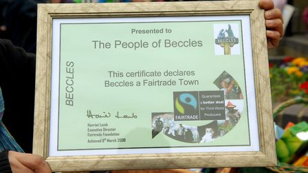 The Fairtrade Town Certificate presented o Beccles in 2008. Picture: Archant library.