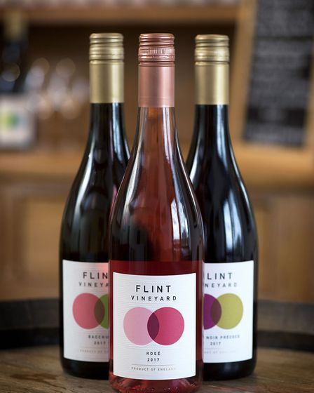 The wines on offer at Flint Vineyard in Earsham. Picture: Simon Buck.