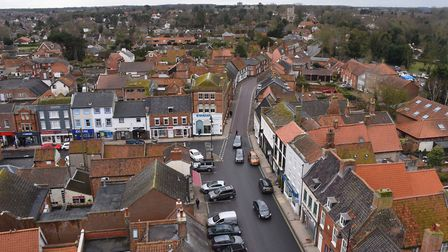 A view of Beccles from the top of the refurbished clock tower. Picture: DENISE BRADLEY