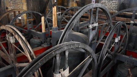 The bells inside the refurbished clock tower at Beccles. Picture: DENISE BRADLEY