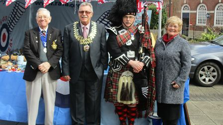 RAFA Beccles President Brian Vousden, Frank Mortimer, Pipe Major Edwin,and Trish Mortimer at the RAF
