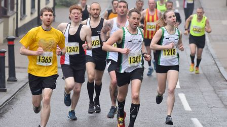 Pounding the streets in the 10k race. Picture: Nick Butcher