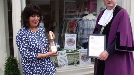 Town reeve Stephen Went presenting the window award to Jan Putman, of Muse,Picture: Terry Reeve