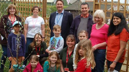 Pupils from Seething and Mundham Primary School enjoy the opening of its new Forest School. Photo: