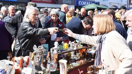 Shoppers enjoying a previous Beccles Antiques Street Market. Picture: Archant library.
