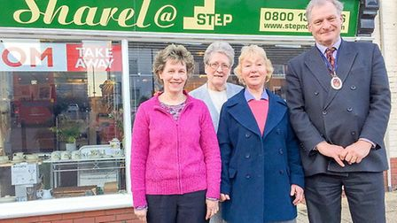 The High Sheriff of Suffolk, Geoffrey Probert, with Julie Shearing, Theresa Cumbers and Susan Harris