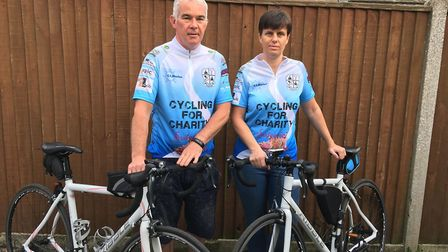 Mark Carter pictured with his wife Marie who is joining him on two of the charity rides. Picture: Co