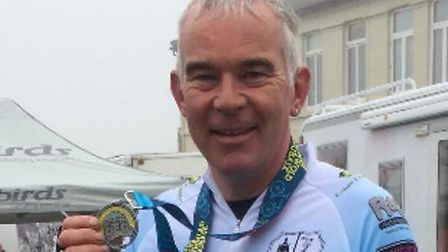 Mark Carter after completing the Southwold Cycle Sportive. Picture: Courtesy of Mark Carter.