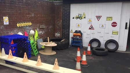 The new play area construction zone at Big Sky Nursery. Pictures: Courtesy of East Coast Community H