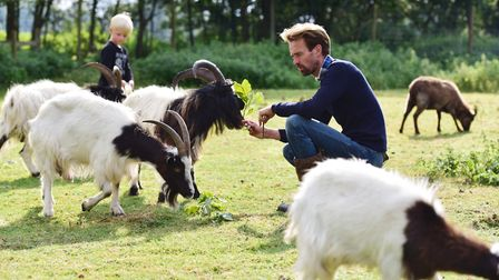 Ben Potterton with some of the animals. at Earsham Wetland Centre. Picture: Nick Butcher.