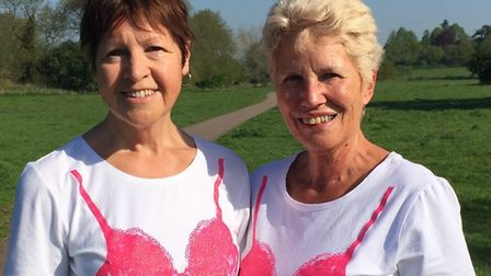 Christine Jeffery and Linda Hopkins, from Halesworth, will be taking part in the London Moonwalk. Ph