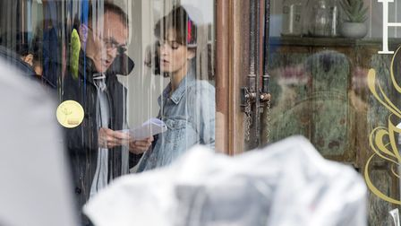 Lily James on set during filming of a new Danny Boyle and Richard Curtis movie in Halesworth. Pictur