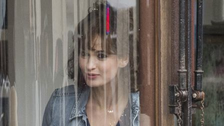 Lily James on set during filming of a new Danny Boyle and Richard Curtis movie in Halesworth. Lily J