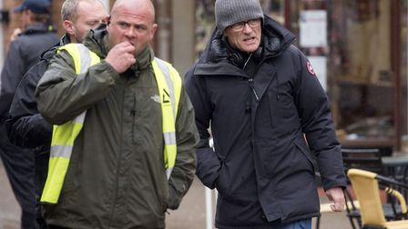 Film crews take over Halesworth Thoroughfare during the filming of a new Danny Boyle and Richard Cur