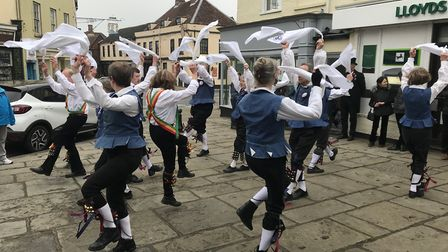 Rumburgh Morris performing in Bungay to mark their 10th anniversary. Picture: Amy Smith
