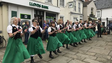 Fiddlesticks performing in Bungay to mark the 10th anniversary of Rumburgh Morris. Picture: Amy Smit
