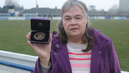 Colleen Gower with her FA 50-Year Service Award. Photograph: Suffolk FA
